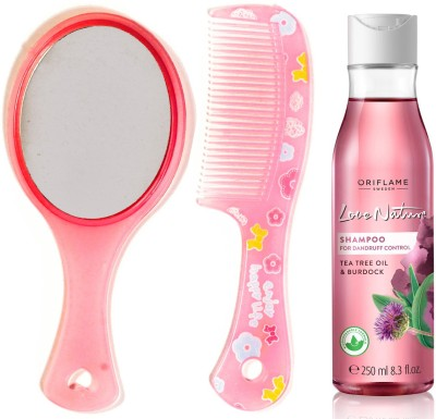 Oriflame Sweden Love Nature 2in1 Shampoo for Flaky scalp with Tea Tree Oil & Burdock 250ml (32623) With Mirror Comb Set(Set of 3)  available at flipkart for Rs.499