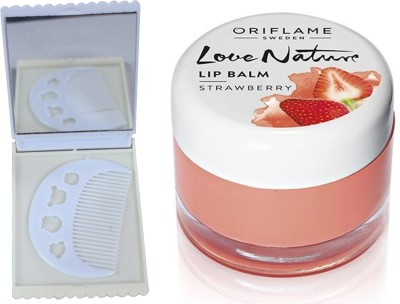 Oriflame Sweden Love Nature Lip Balm - Strawberry 7g (31075) With Comb Mirror Set(Set of 3)  available at flipkart for Rs.343