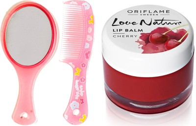 Oriflame Sweden Love Nature Lip Balm - Cherry 7g (31076) With Mirror Comb Set(Set of 3)  available at flipkart for Rs.343