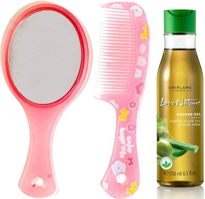 Oriflame Sweden Love Nature Shower Gel with Moisturising Olive Oil & Aloe Vera 250ml (32608) With Mirror Comb Set(Set of 3)  available at flipkart for Rs.415