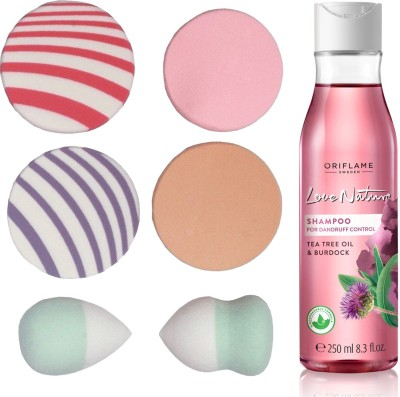 Oriflame Sweden Love Nature 2in1 Shampoo for Flaky scalp with Tea Tree Oil & Burdock 250ml (32623) With Puff Sponge(Set of 7)  available at flipkart for Rs.499
