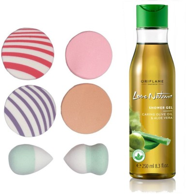 Oriflame Sweden Love Nature Shower Gel with Moisturising Olive Oil & Aloe Vera 250ml (32608) With Puff Sponge(Set of 7)  available at flipkart for Rs.495