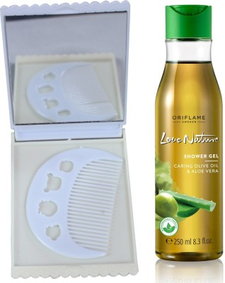 Oriflame Sweden Love Nature Shower Gel with Moisturising Olive Oil & Aloe Vera 250ml (32608) With Comb Mirror Set(Set of 3)  available at flipkart for Rs.415