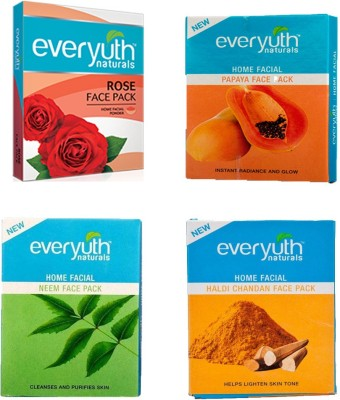 EVERYUTH NATURALS HALDI CHANDAN FACE PACK 25 GM + ROSE FACE PACK 25 GM + NEEM FACE PACK 25 GM + PAPAYA FACE PACK 25 GM(25 g)