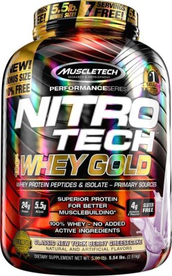 Muscletech Performance Series Nitrotech 100% Whey Gold Whey Protein(2.51 kg, Classic New York Berry Cheesecake)