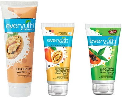 EVERYUTH NATURALS PURIFYING & EXFOLIATING NEEM PAPAYA SCRUB 50 GM. + HYDRATING & EXFOLIATING WALNUT APRICOT SCRUB 50 GM. + EXFOLIATING WALNUT SCRUB 100 GM. Scrub(100 g)