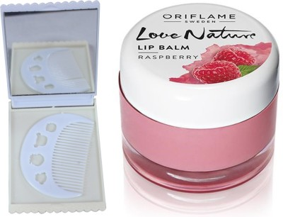 Oriflame Sweden Love Nature Lip Balm - Raspberry 7g (31077) With Comb Mirror Set(Set of 3)  available at flipkart for Rs.340
