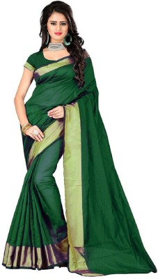 Cozee Shopping Woven Fashion Cotton Blend Saree(Green) at flipkart