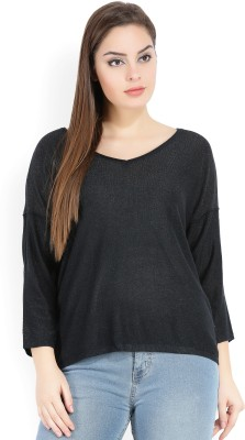 Only Solid V-neck Casual Women Blue Sweater at flipkart