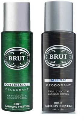 Brut Original and Musk Deodorant Spray Pack of 2 Combo (200ML each) Deodorant Spray  -  For Men(400 ml, Pack of 2)  available at flipkart for Rs.512