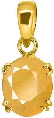 Tejvij and Sons 4.25 Ratti Original Yellow Sapphire Pukhraj Pendent made of Panchdhatu Gold Plated GLI Certified Sapphire Metal Pendant