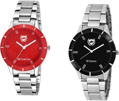 OM Collection Watch Combo for Girls/Women Beautiful Black and Red case and Dail unique with high quality for Party Wedding | Casual Watch | Formal Watch | Sport Watch | Fashion Wrist Watch For Women/Girls/Ladies omwt-32(Set of 2) omwt Watch  - For Girls   Watches  (OM Collection)