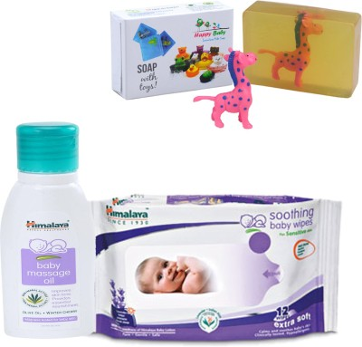 Himalaya Herbals Baby Massage Oil (50ml)+Himalaya Herbals Soothing Baby Wipes (12 Sheets) With Happy baby Luxurious Kids Soap With Toy (100gm)(Clear)  available at flipkart for Rs.178