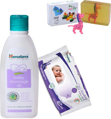Himalaya Herbals Baby Massage Oil (100ml)+Himalaya Herbals Soothing Baby Wipes (12 Sheets) With Happy baby Luxurious Kids Soap With Toy (100gm)(Clear)  available at flipkart for Rs.212