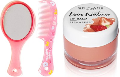 Oriflame Sweden Love Nature Lip Balm - Strawberry 7g (31075) With Mirror Comb Set(Set of 3)  available at flipkart for Rs.329