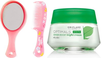 Oriflame Sweden Optimals White Oxygen Boost Night Cream Oily Skin 50ml (26842) With Mirror Comb Set(Set of 3)  available at flipkart for Rs.649