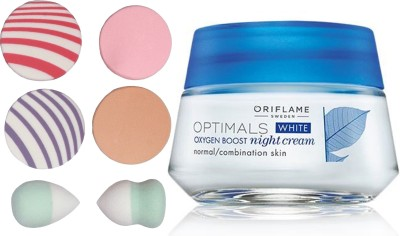 Oriflame Sweden Optimals White Oxygen Boost Night Cream Normal/Combination Skin 50ml (26841) With Puff Sponge(Set of 7)  available at flipkart for Rs.645