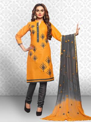 Divastri Cotton Polyester Blend Embroidered Salwar Suit Dupatta Material