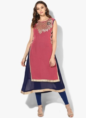 Zoeyams Casual Embroidered Women Kurti(Pink)