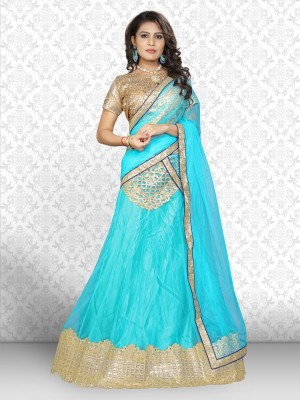 Saara Nylon Net Embroidered, Embellished Semi-stitched Salwar Suit Dupatta Material