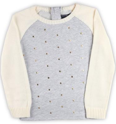 Nautica Self Design Round Neck Casual Girls Grey Sweater at flipkart