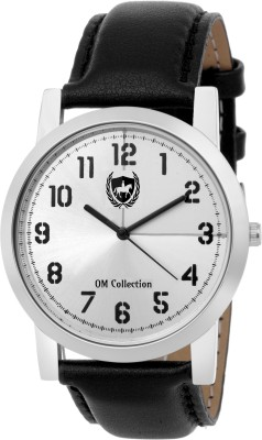 Om Collection Mens/Boys Analog| Slim Round Shapped Silver Case and Silver Dial |Black Leather Strap Party Wedding | Casual Watch | Formal Watch | Sport Watch | Fashion Wrist Watch For Boys and Men | Watch--omwt59 Watch  - For Men   Watches  (OM Collection)