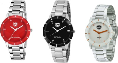 OM Collection Watch Combo for Girls/Women Beautiful Black and Red and white case and Dail unique with high quality for Party Wedding | Casual Watch | Formal Watch | Sport Watch | Fashion Wrist Watch For Women/Girls/Ladies omwt-72(Set of 3) omwt-73 Watch  - For Girls   Watches  (OM Collection)