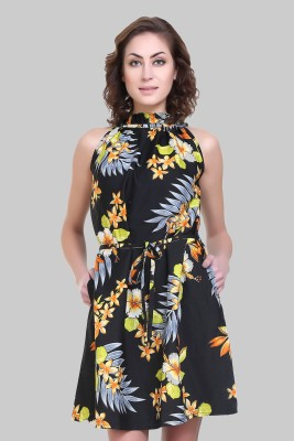 Crease   Clips Women Gathered Multicolor, Black Dress