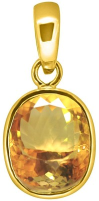 Tejvij and Sons 11.25 Ratti Citrine Pendent Ashthadhatu with Gold Plated For Men & Women… Yellow Gold Citrine Metal Pendant