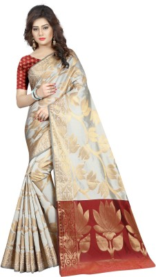 Hinayat Fashion Self Design, Woven Banarasi Silk Saree(Cream, Gold)