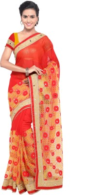 ARSHIMPEX Embroidered Bollywood Chiffon, Net Saree(Red, Yellow)