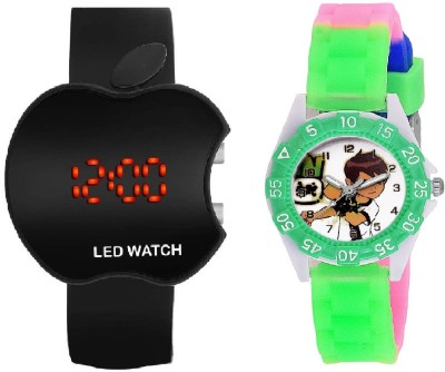 COSMIC BLACK APPLE LED BOYS WATCH WITH DESINGER AND FANCY BEN 10 CARTOON PRINTED ON TINNY DIAL KIDS & CHILDREN Watch  - For Boys & Girls