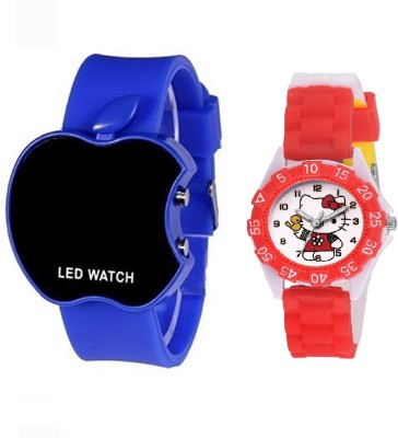 COSMIC blue apple led boys watch DESINGER AND FANCY HELLO KITTY CARTOON PRINTED ON TINNY DIAL KIDS & CHILDREN Watch  - For Boys & Girls