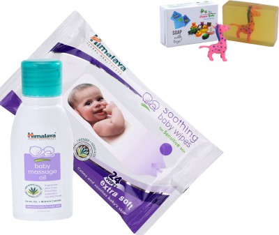 Himalaya Herbals Baby Massage Oil (50ml)+Himalaya Herbals Soothing Baby Wipes (24 Sheets) With Happy baby Luxurious Kids Soap With Toy (100gm)(Clear)  available at flipkart for Rs.204