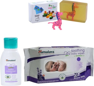Himalaya Herbals Baby Massage Oil (50ml)+Himalaya Herbals Soothing Baby Wipes (72 Sheets) With Happy baby Luxurious Kids Soap With Toy (100gm)(Clear)  available at flipkart for Rs.295