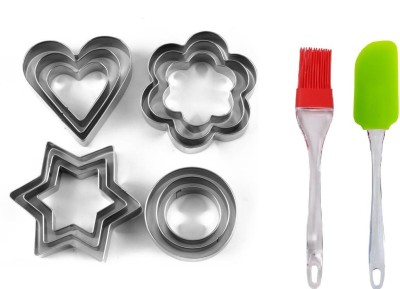 h d enterprise Stainless Steal Heart, Round, Flower, Star Shape and 1 Silicon Spatula Cookie Cutter(Pack of 12) at flipkart