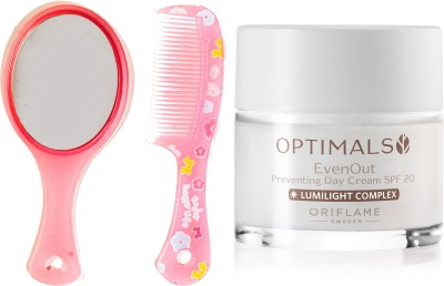 Oriflame Sweden Optimals Even Out Day Cream SPF 20 50ml (32479) With Mirror Comb Set(Set of 3)  available at flipkart for Rs.799