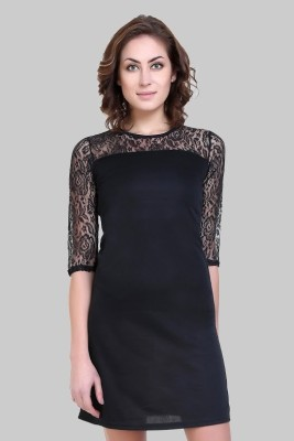 Crease   Clips Women A line Black Dress