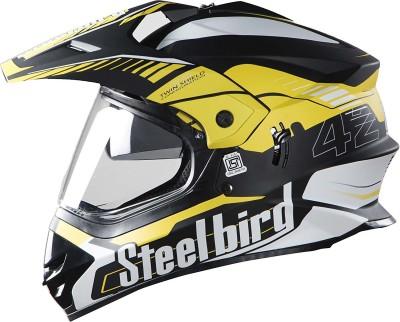 Steelbird Steel bird SB-42 Bang Black with Yellow L Motorbike Helmet(Black with Yellow)