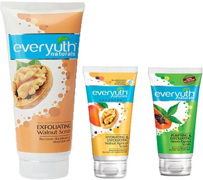EVERYUTH NATURALS EXFOLIATING WALNUT SCRUB 200 GM + HYDRATING & EXFOLIATING WALNUT APRICOT SCRUB 50 GM + PURIFYING & EXFOLIATING NEEM PAPAYA SCRUB 50 GM Scrub(50 g)