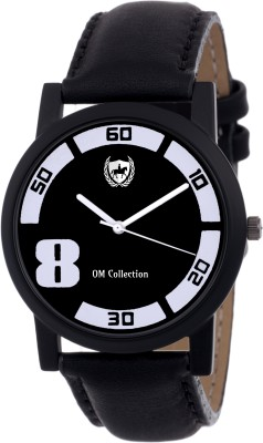 OM COLLECTION Mens/Boys Analog Silm 8 N Men's Black Round Shapped Dial Black Leather Strap Party Wedding | Casual Watch | Formal Watch | Sport Watch | Fashion Wrist Watch For Boys and Men | Watch-omwt57 Watch  - For Men   Watches  (OM Collection)