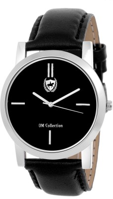 OM COLLECTION Mens/Boys Analog Silver Case Round Shapped Black Dial  Black Leather Strap Party Wedding   Casual Watch   Formal Watch   Sport Watch   Fashion Wrist Watch For Boys and Men   Watch-omwt56 Watch  - For Men   Watches  (OM Collection)