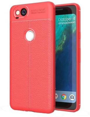 MODIK Back Cover for Google Pixel 2 Soft SiliCon Leather Pattern TPU Flexible Auto Focus Shock Proof Back Cover {Red}(Red, Shock Proof)