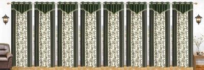 Ville Style 214 cm (7 ft) Polyester Door Curtain (Pack Of 8)(Floral, Green) at flipkart