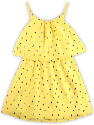 Nautica Girls Midi/Knee Length Casual Dress(Yellow, Sleeveless) at flipkart