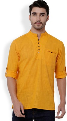 Svanik Men Solid Straight Kurta(Yellow)