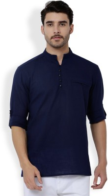 Svanik Men Solid Straight Kurta(Dark Blue)