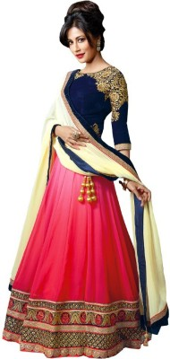 Define Jewellery Embroidered Ghagra, Choli, Dupatta Set(Pink)