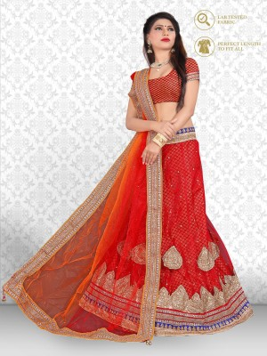 Khodal Fashion Embroidered Lehenga, Choli and Dupatta Set(Red)