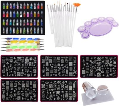 Lifestyle-You Mega Combo Kit of Nail Art Tools – 3d Nail Art, Nail Stamping Image Plates, Silicone Stamper, Nail Art Brush set, Nail Dotting Tool Set, Nail Art Palette.(Multi)